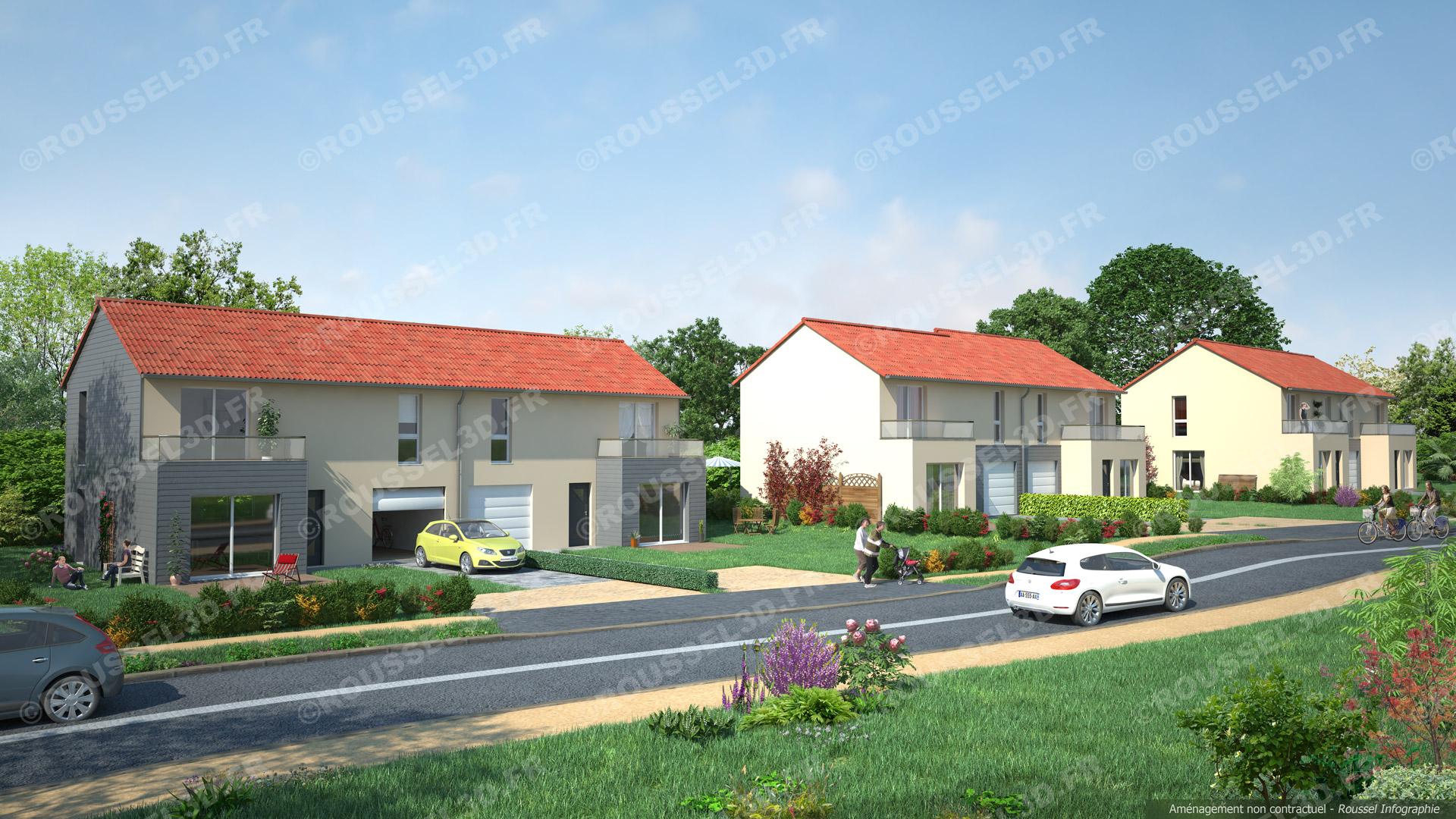 Illustrations 3d pour l 39 urbanisme et la promotion de for Projet 3d maison