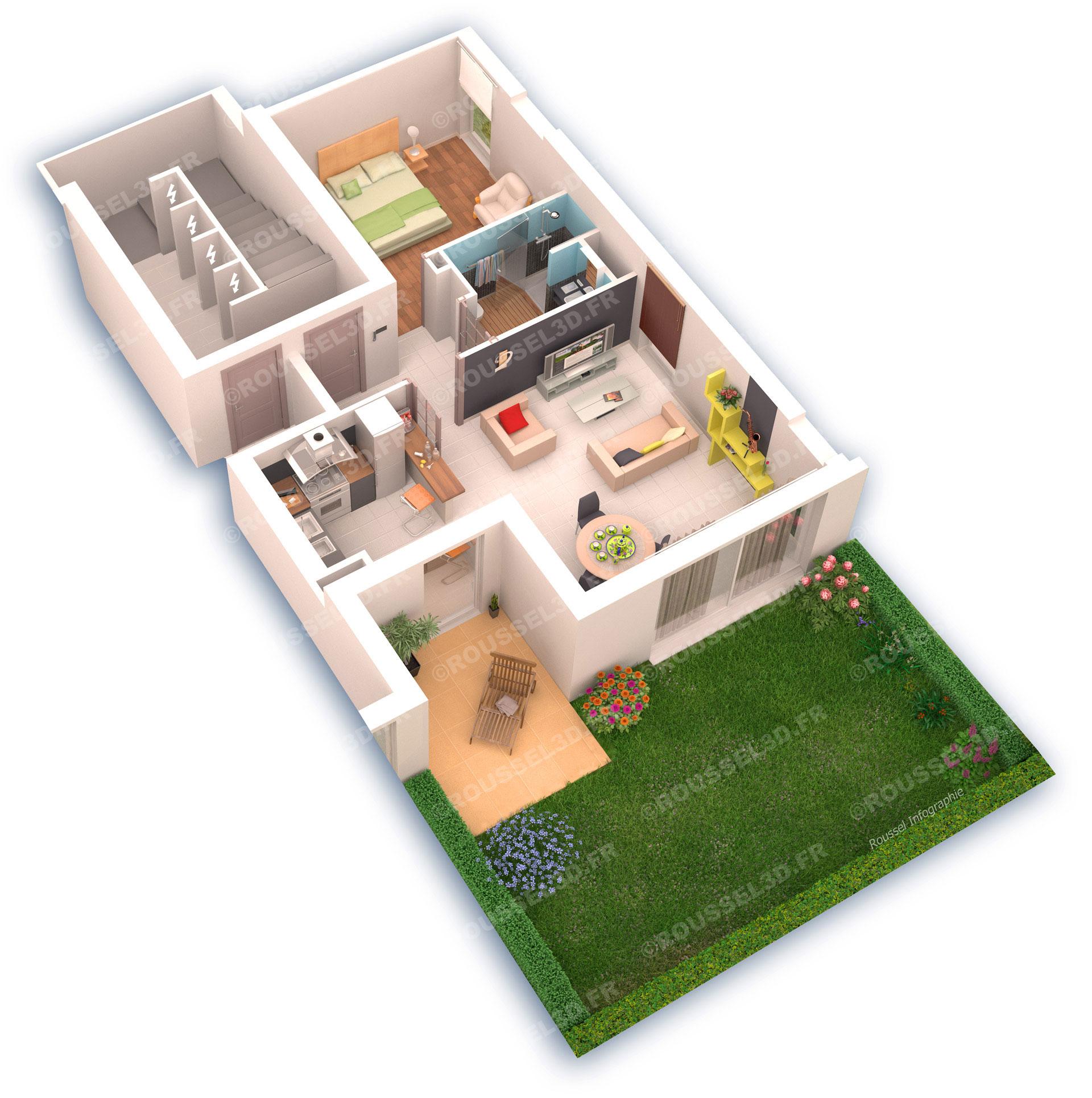 Plan D Appartement En 3d. Trendy D Artlantis Plan Maison Ordinary ...