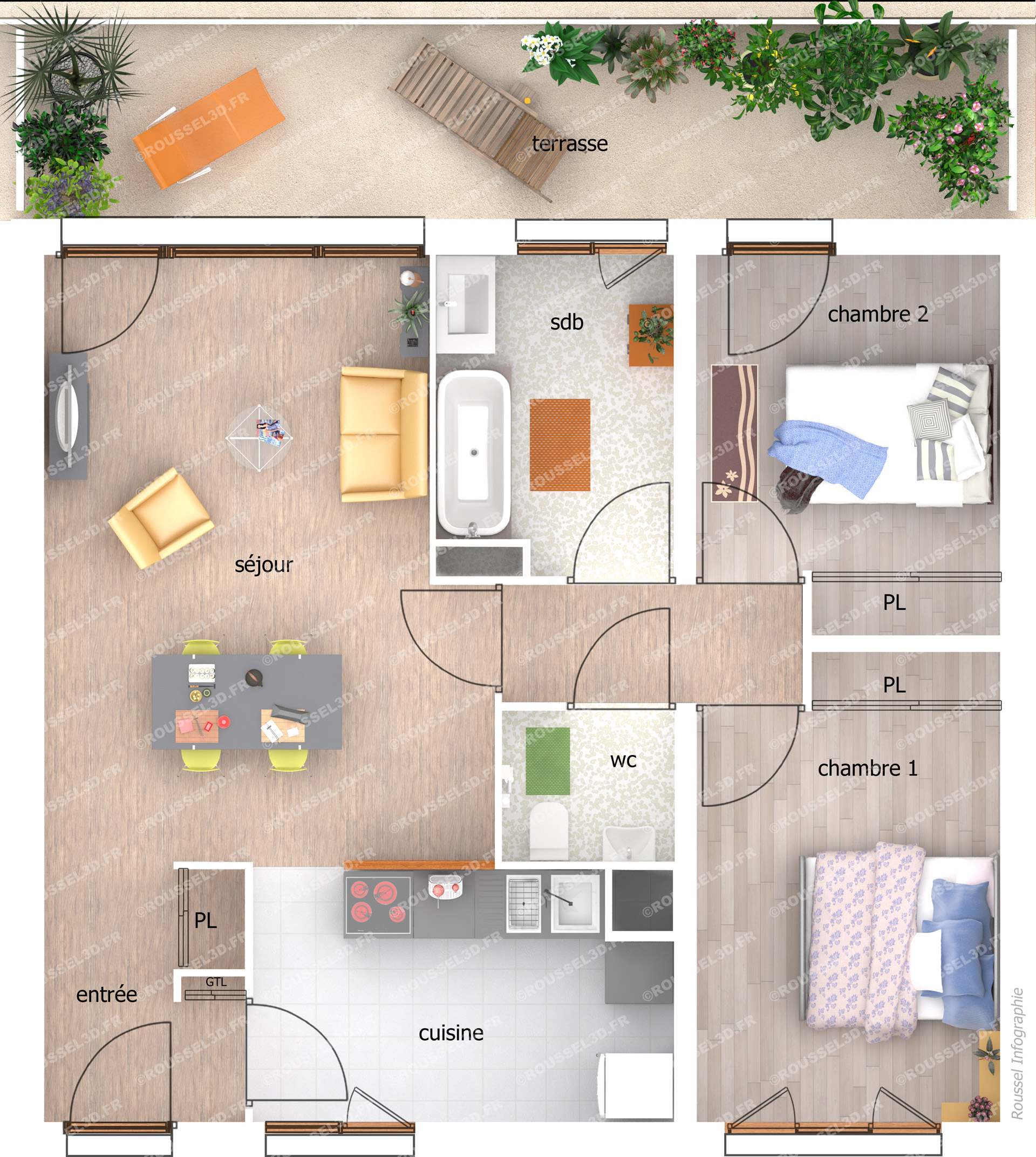 Plan appartement t3 avec terrasse for Plan maison t3